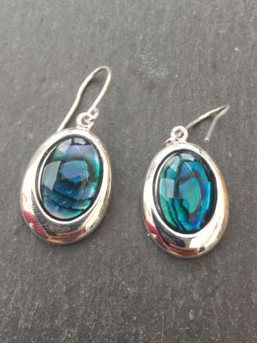 Paua Blue Earrings - Medium Oval PE17-MV